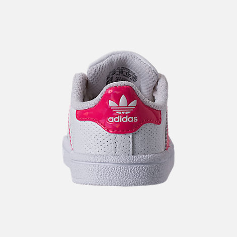 Back view of Girls' Toddler adidas Superstar Casual Shoes in White/Real Pink