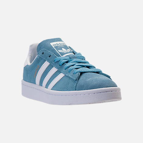 Three Quarter view of Boys' Grade School adidas Campus adicolor Casual Shoes in Ash Blue/White