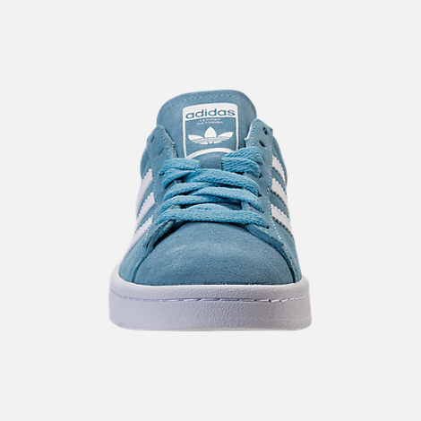 Front view of Boys' Grade School adidas Campus adicolor Casual Shoes in Ash Blue/White