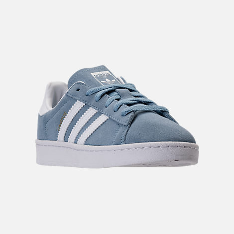Three Quarter view of Boys' Preschool adidas Campus adicolor Casual Shoes in Ash Blue/White