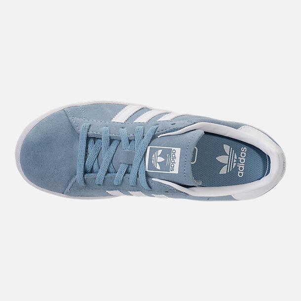 Top view of Boys' Preschool adidas Campus adicolor Casual Shoes in Ash Blue/White