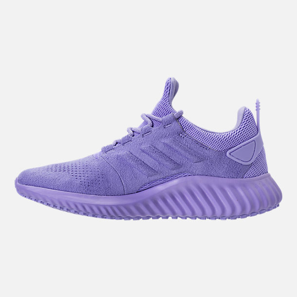 Left view of Girls' Grade School adidas AlphaBounce CR Running Shoes in Chalk Purple