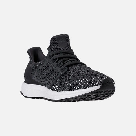 Three Quarter view of Kids' Grade School adidas UltraBOOST Clima Running Shoes in Carbon/Orchid/Tint
