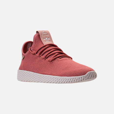 Three Quarter view of Women's adidas Originals Pharrell Williams Tennis HU Casual Shoes in Ash Pink/Chalk White