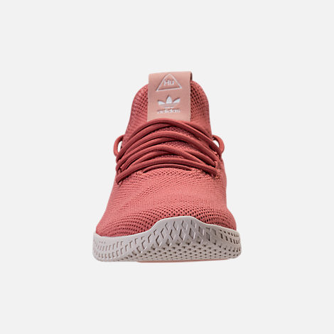 Front view of Women's adidas Originals Pharrell Williams Tennis HU Casual Shoes in Ash Pink/Chalk White