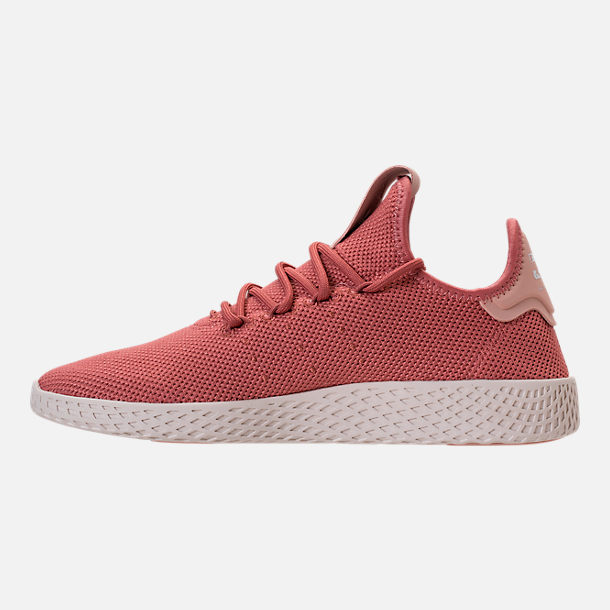 Left view of Women's adidas Originals Pharrell Williams Tennis HU Casual Shoes in Ash Pink/Chalk White