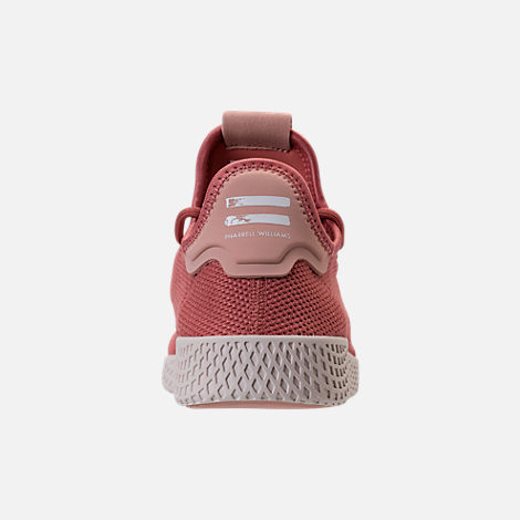 Back view of Women's adidas Originals Pharrell Williams Tennis HU Casual Shoes in Ash Pink/Chalk White