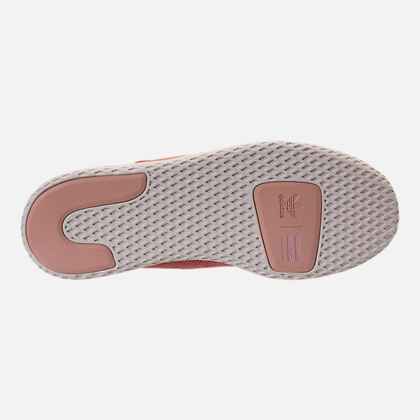Bottom view of Women's adidas Originals Pharrell Williams Tennis HU Casual Shoes in Ash Pink/Chalk White