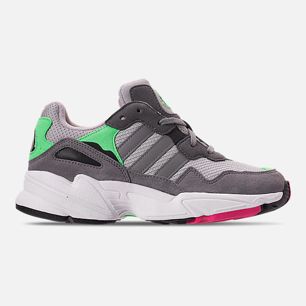 Right view of Boys' Big Kids' adidas Originals Yung-96 Casual Shoes in Grey Two/Grey Three/Shock Pink
