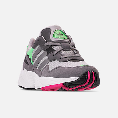 Three Quarter view of Boys' Big Kids' adidas Originals Yung-96 Casual Shoes in Grey Two/Grey Three/Shock Pink