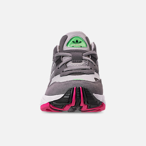 Front view of Boys' Big Kids' adidas Originals Yung-96 Casual Shoes in Grey Two/Grey Three/Shock Pink