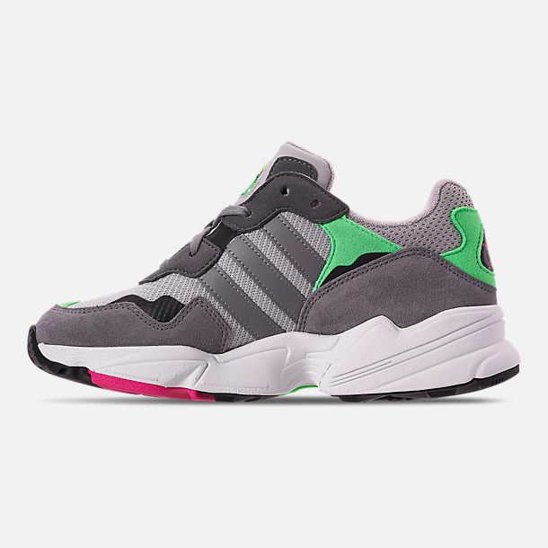 Left view of Boys' Big Kids' adidas Originals Yung-96 Casual Shoes in Grey Two/Grey Three/Shock Pink