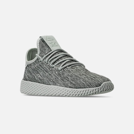 Three Quarter view of Women's adidas Originals Pharrell Williams Tennis HU Casual Shoes in Vapour Green/Chalk White