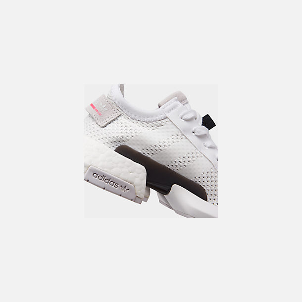 Front view of Boys' Big Kids' adidas Originals POD-S3.1 Casual Shoes in White/White/Solar Orange