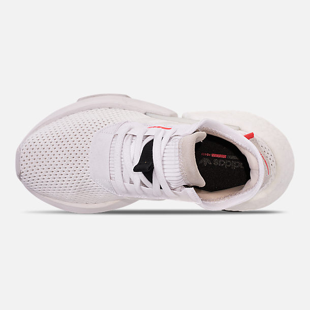 Top view of Boys' Big Kids' adidas Originals POD-S3.1 Casual Shoes in White/White/Solar Orange