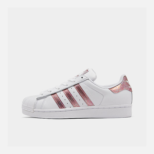 Right view of Girls' Big Kids' adidas Superstar Casual Shoes in White/Clear Orange