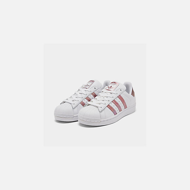 Three Quarter view of Girls' Big Kids' adidas Superstar Casual Shoes in White/Clear Orange
