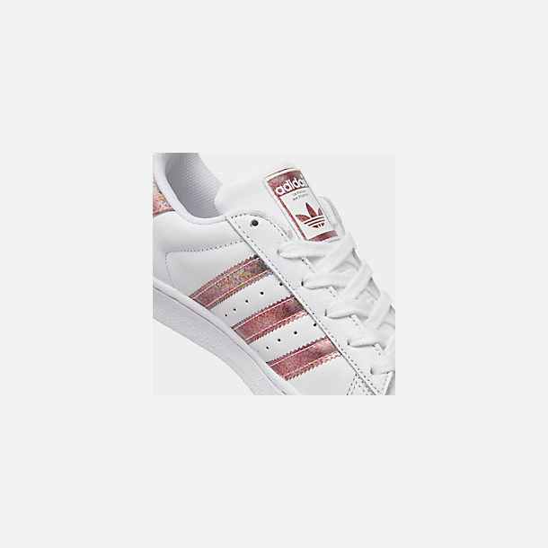 Front view of Girls' Big Kids' adidas Superstar Casual Shoes in White/Clear Orange