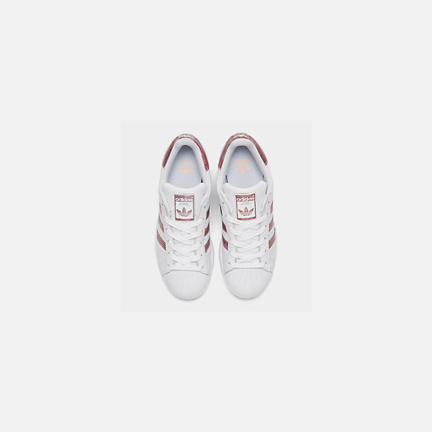Back view of Girls' Big Kids' adidas Superstar Casual Shoes in White/Clear Orange