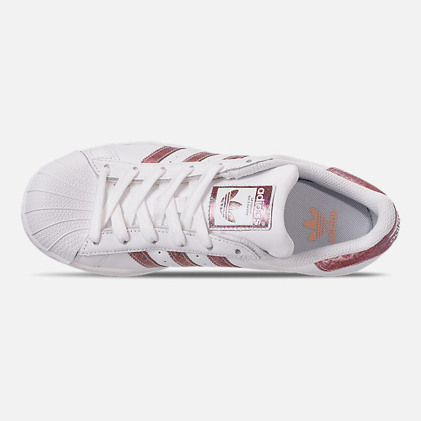 Top view of Girls' Big Kids' adidas Superstar Casual Shoes in White/Clear Orange