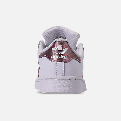 Back view of Girls' Little Kids' adidas Superstar Casual Shoes in White/Clear Orange