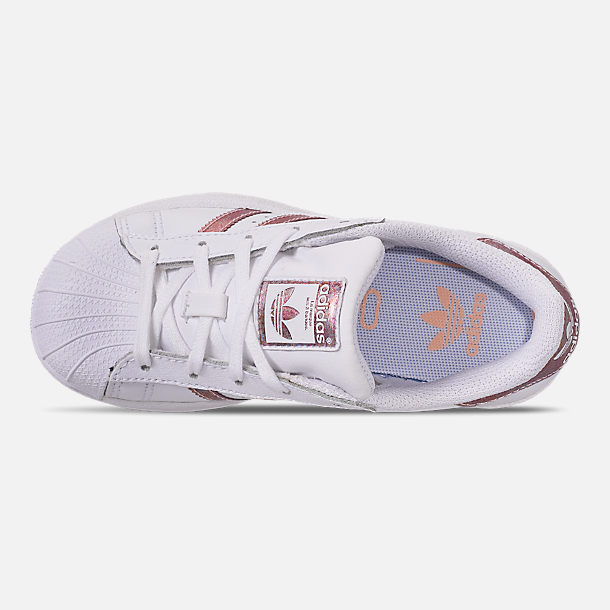 Top view of Girls' Little Kids' adidas Superstar Casual Shoes in White/Clear Orange