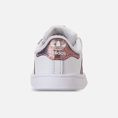 Back view of Girls' Toddler adidas Superstar Casual Shoes in White/Clear Orange