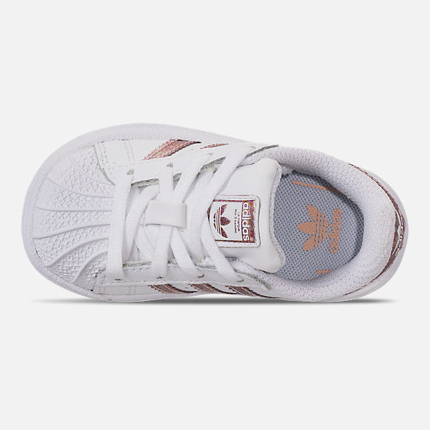 Top view of Girls' Toddler adidas Superstar Casual Shoes in White/Clear Orange