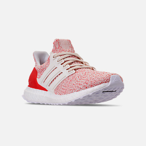 Three Quarter view of Women's adidas UltraBOOST 4.0 Running Shoes in Chalk White/Active Red