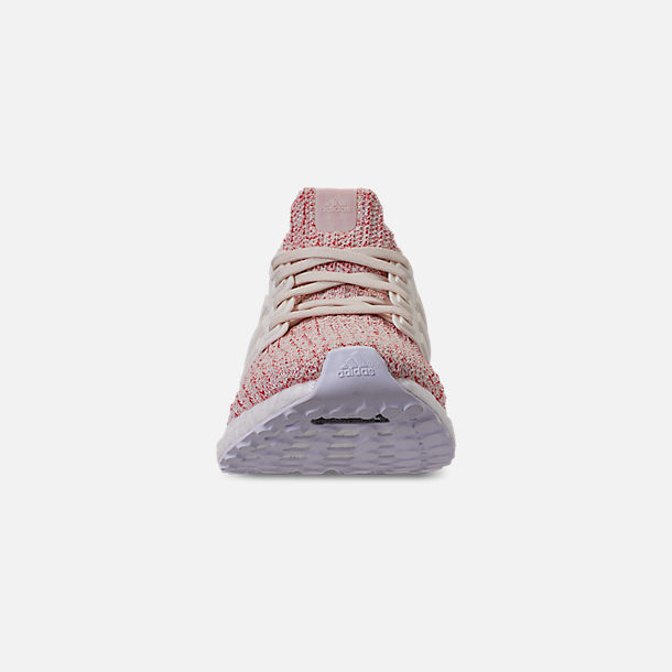 Front view of Women's adidas UltraBOOST 4.0 Running Shoes in Chalk White/Active Red