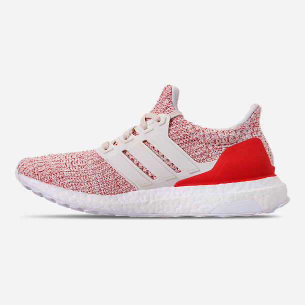 Left view of Women's adidas UltraBOOST 4.0 Running Shoes in Chalk White/Active Red