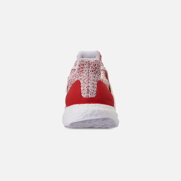Back view of Women's adidas UltraBOOST 4.0 Running Shoes in Chalk White/Active Red