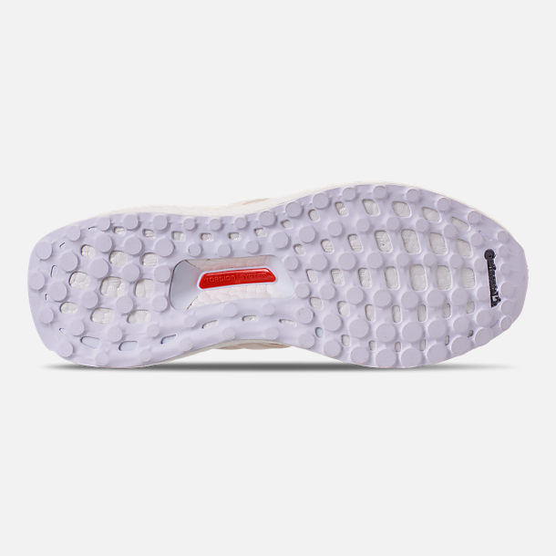 Bottom view of Women's adidas UltraBOOST 4.0 Running Shoes in Chalk White/Active Red