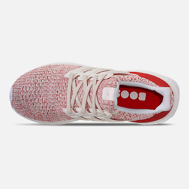 Top view of Women's adidas UltraBOOST 4.0 Running Shoes in Chalk White/Active Red