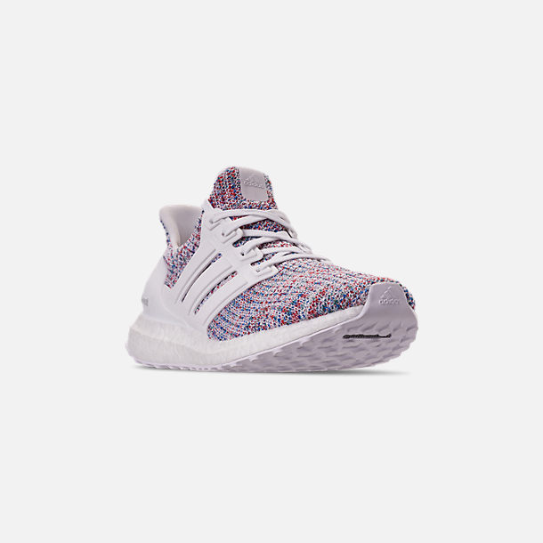 Three Quarter view of Women's adidas UltraBOOST 4.0 Running Shoes in Footwear White/Active Red