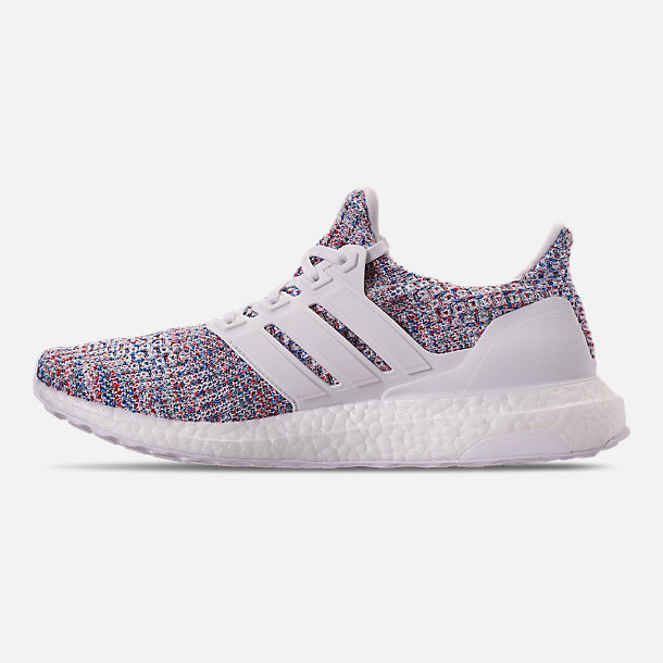 Left view of Women's adidas UltraBOOST 4.0 Running Shoes in Footwear White/Active Red