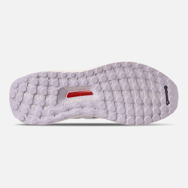 Bottom view of Women's adidas UltraBOOST 4.0 Running Shoes in Footwear White/Active Red