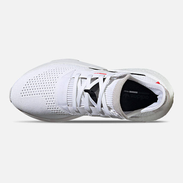 Top view of Men's adidas Originals POD-S3.1 Primeknit Casual Shoes in Footwear White/Shock Red