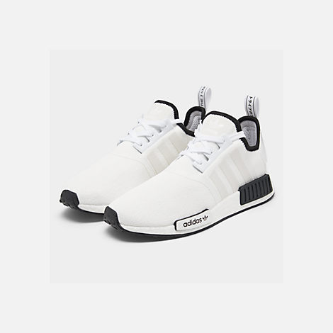 Three Quarter view of Men's adidas NMD Runner R1 Casual Shoes in Footwear White/Footwear White/Core Black