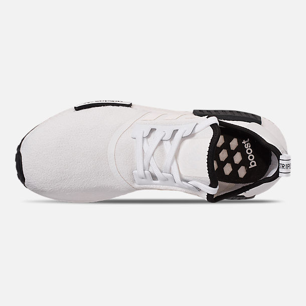 Top view of Men's adidas NMD Runner R1 Casual Shoes in Footwear White/Footwear White/Core Black