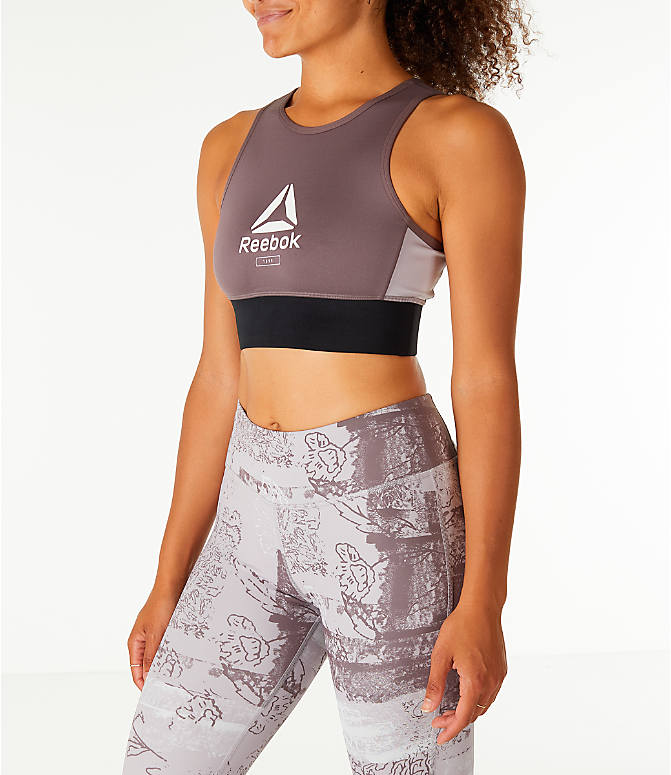Front Three Quarter view of Women's Reebok Layering Training Bralette Sports Bra in Almgre