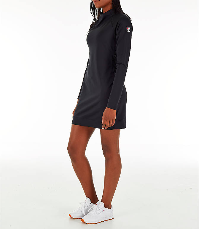 Front Three Quarter view of Women's Reebok Classics Advanced Mock Dress in Black