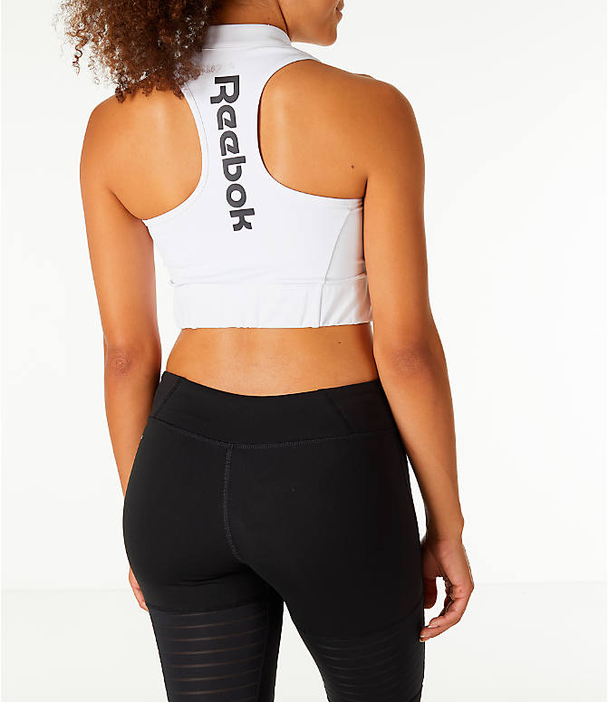Back Right view of Women's Reebok Classics Vector Crop Sports Bra in White