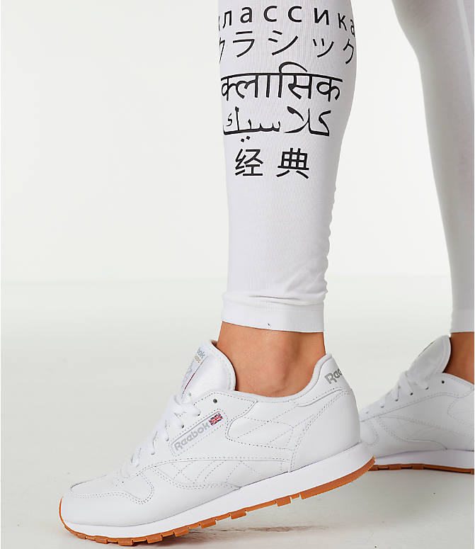 Detail 1 view of Women's Reebok Classics International Graphic Leggings in White/Black