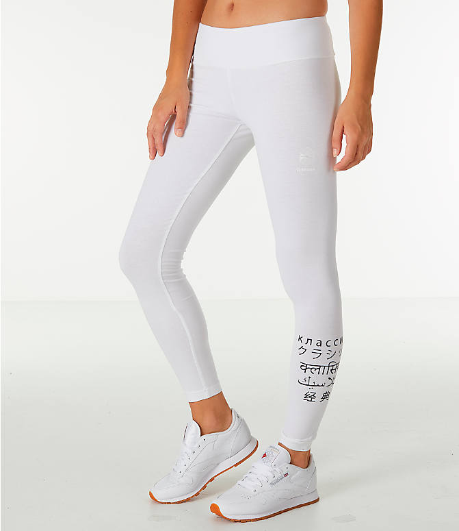 Front view of Women's Reebok Classics International Graphic Leggings in White/Black