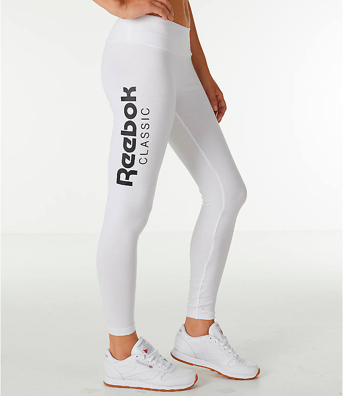 Front Three Quarter view of Women's Reebok Classics International Graphic Leggings in White/Black