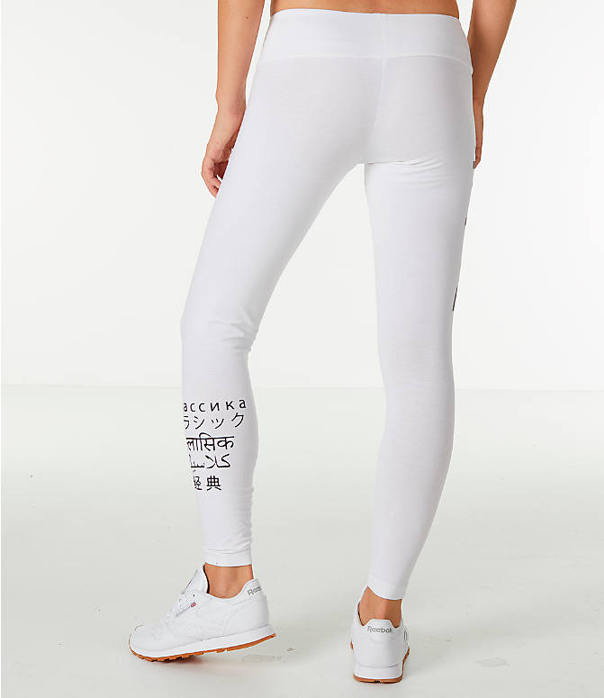 Back Right view of Women's Reebok Classics International Graphic Leggings in White/Black