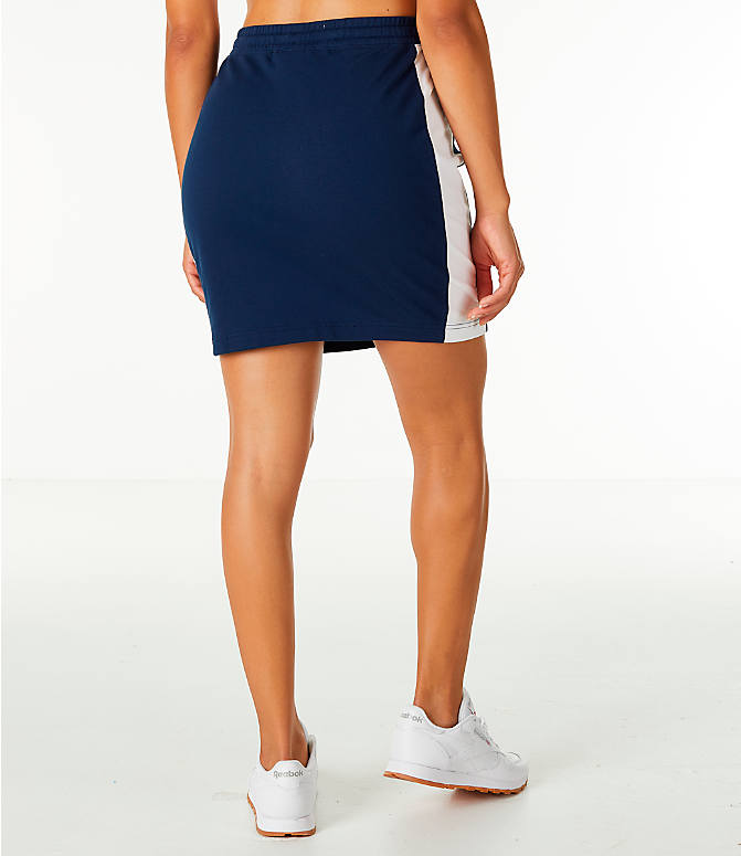 Back Right view of Women's Reebok Classics Jersey Skirt in Navy/White