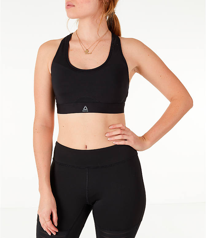 Front view of Women's Reebok Studio Hero Racer Brand Read Sports Bra in Black