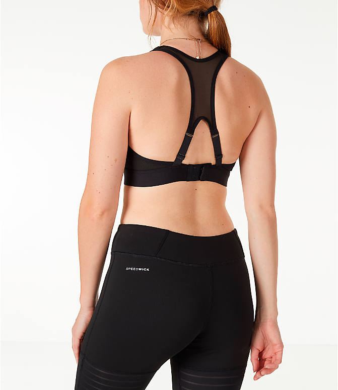 Back Left view of Women's Reebok Studio Hero Racer Brand Read Sports Bra in Black